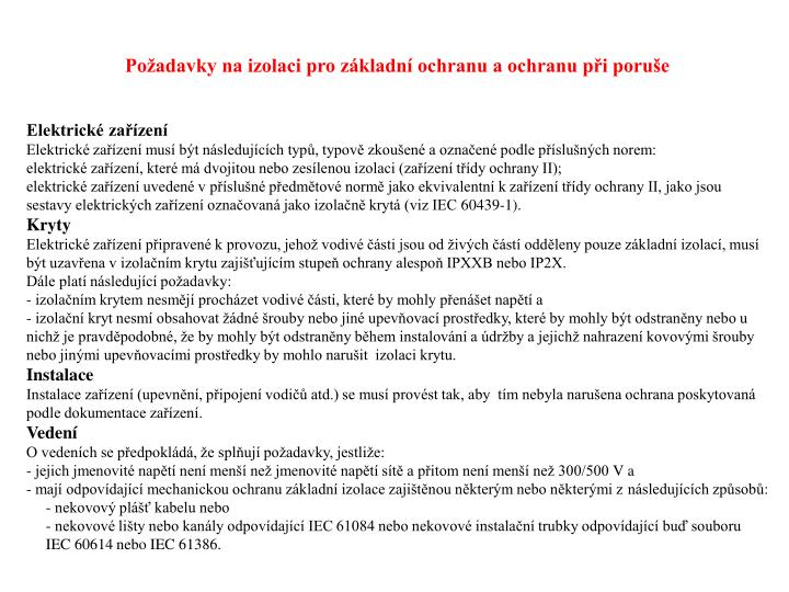 Požadavky na izolaci pro základní ochranu a ochranu při poruše