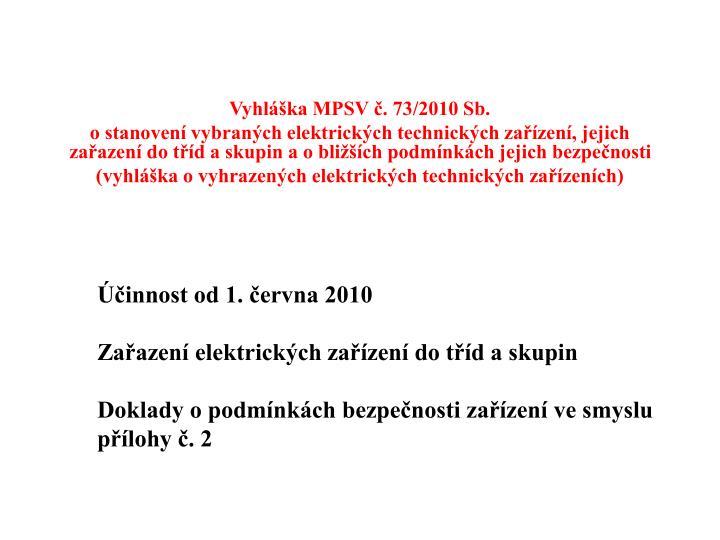 Vyhláška MPSV č. 73/2010 Sb.