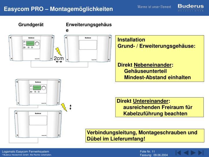 Easycom PRO – Montagemöglichkeiten