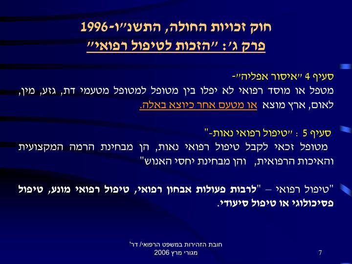 """חוק זכויות החולה, התשנ""""ו-1996"""