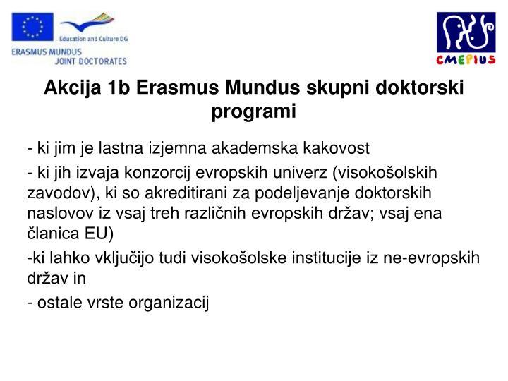 Akcija 1b Erasmus Mundus skupni doktorski programi
