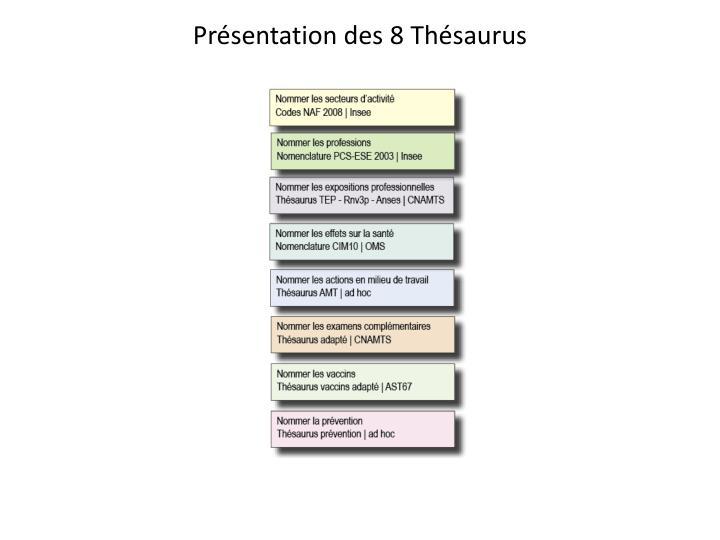 Présentation des 8 Thésaurus