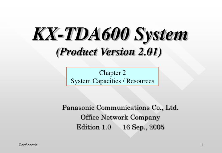 Panasonic communications co ltd office network company edition 1 0 16 sep 2005