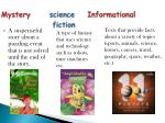 mystery science informational fiction