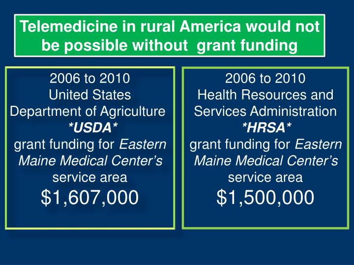 Telemedicine in rural America would not be possible without  grant funding