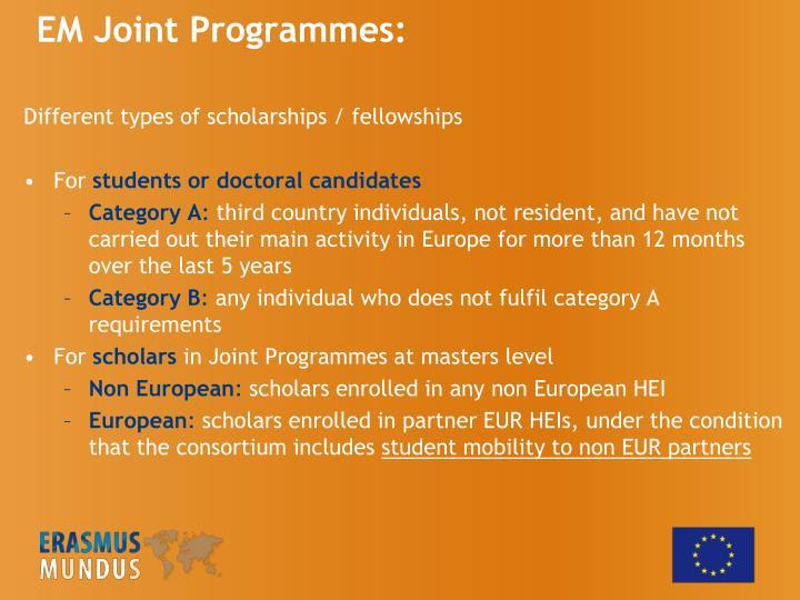 EM Joint Programmes:
