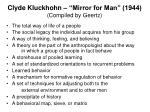 clyde kluckhohn mirror for man 1944 compiled by geertz