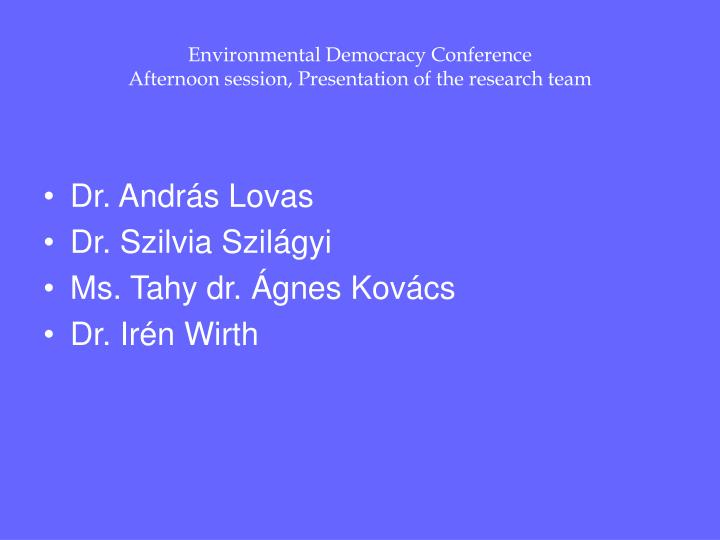 Environmental Democracy Conference