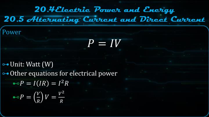 20.4Electric Power and Energy