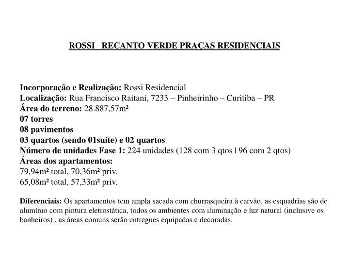 ROSSI   RECANTO VERDE PRAÇAS RESIDENCIAIS