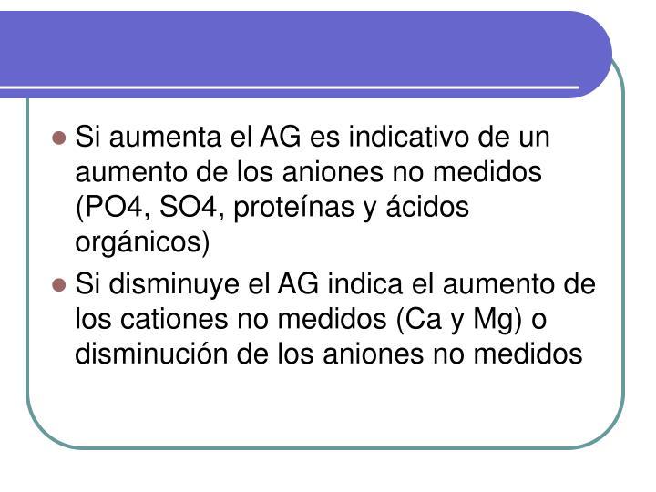 Si aumenta el AG es indicativo de un aumento de los aniones no medidos (PO4, SO4, proteínas y ácidos orgánicos)