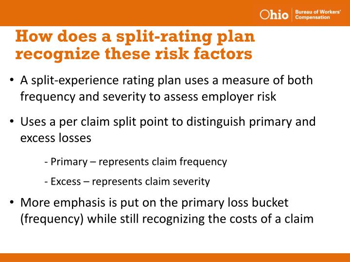 How does a split-rating plan recognize these risk factors