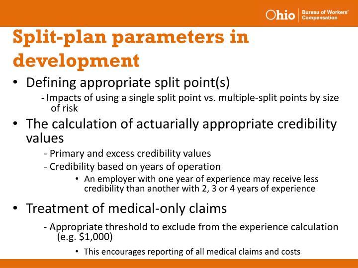 Split-plan parameters in development