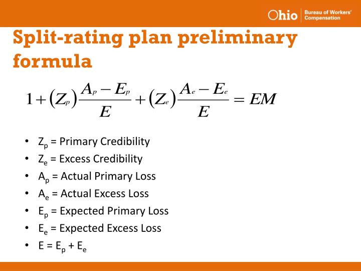 Split-rating plan preliminary formula