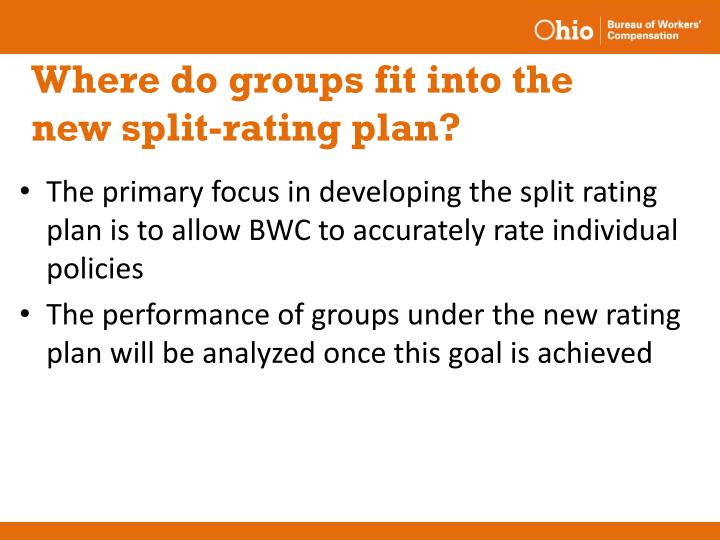 Where do groups fit into the new split-rating plan?