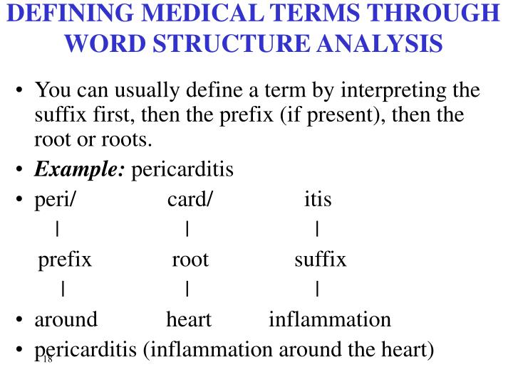 DEFINING MEDICAL TERMS THROUGH WORD STRUCTURE ANALYSIS