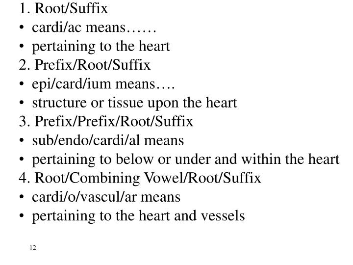 1. Root/Suffix