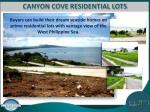 canyon cove residential lots