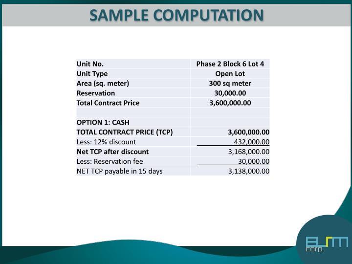 SAMPLE COMPUTATION