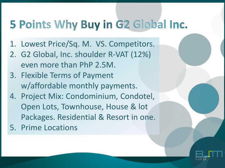 5 Points Why Buy in G2 Global Inc.