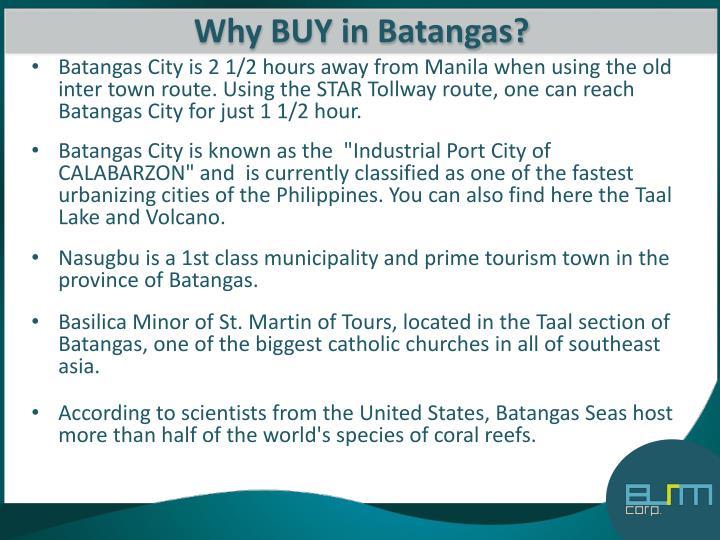Why BUY in Batangas?