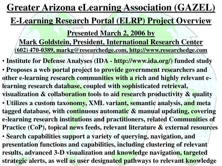 Greater Arizona eLearning Association (GAZEL)