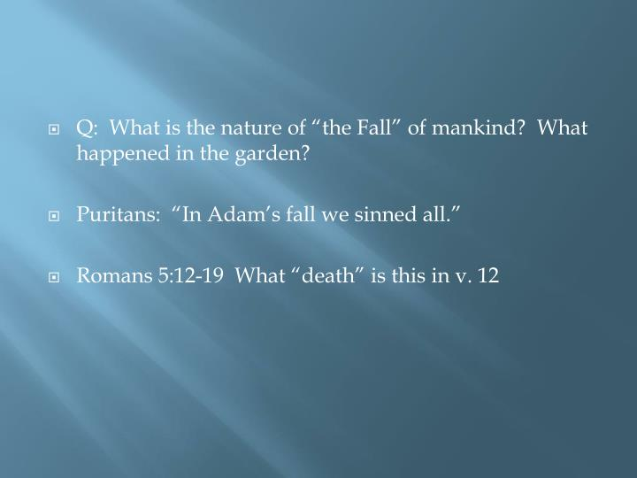 "Q:  What is the nature of ""the Fall"" of mankind?  What happened in the garden?"