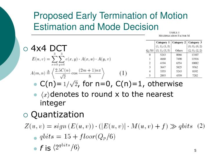Proposed Early Termination of Motion Estimation and Mode Decision