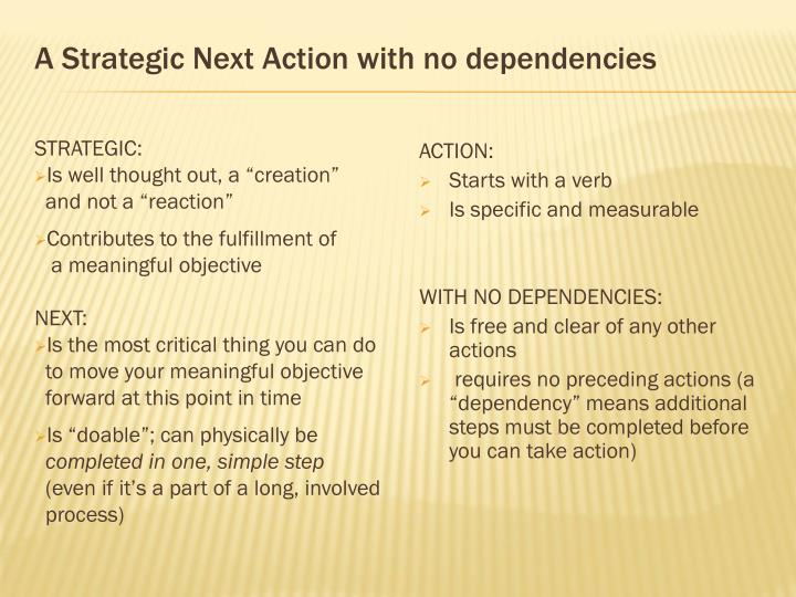 A Strategic Next Action with no dependencies