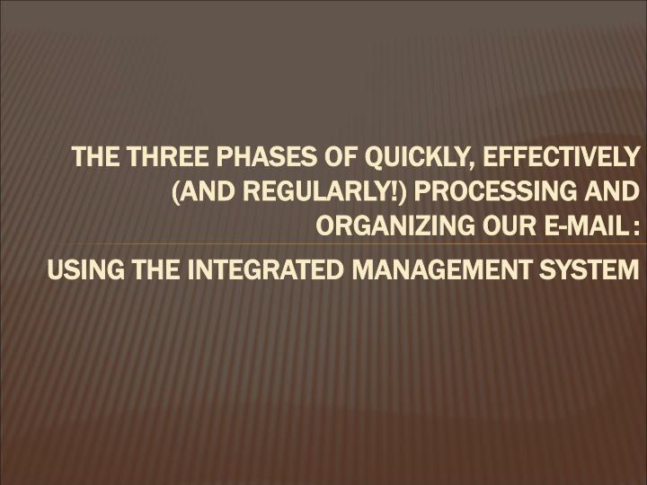 THE THREE PHASES OF QUICKLY, EFFECTIVELY (AND REGULARLY!) PROCESSING AND ORGANIZING OUR E-MAIL