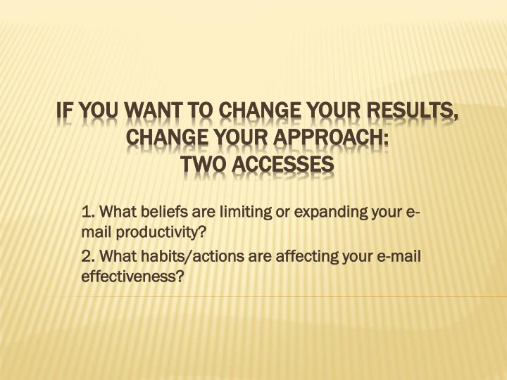 1. What beliefs are limiting or expanding your e-mail productivity?