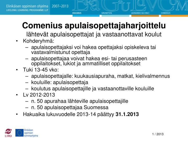 Comenius apulaisopettajaharjoittelu