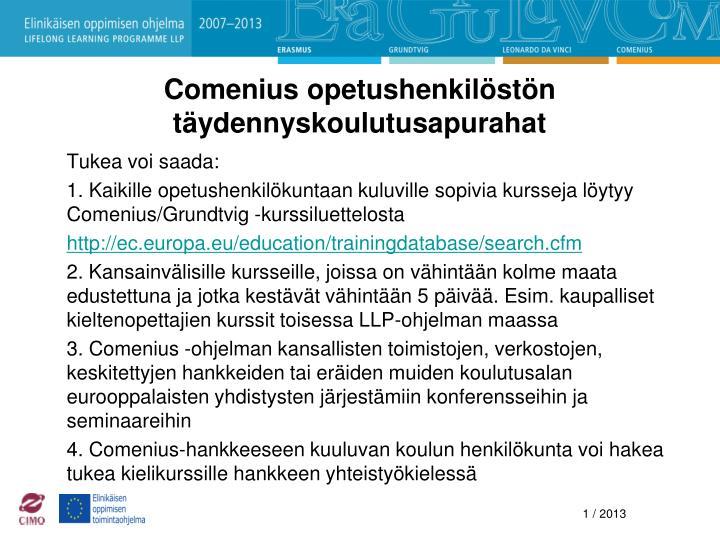 Comenius opetushenkilöstön täydennyskoulutusapurahat