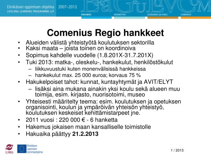 Comenius Regio hankkeet