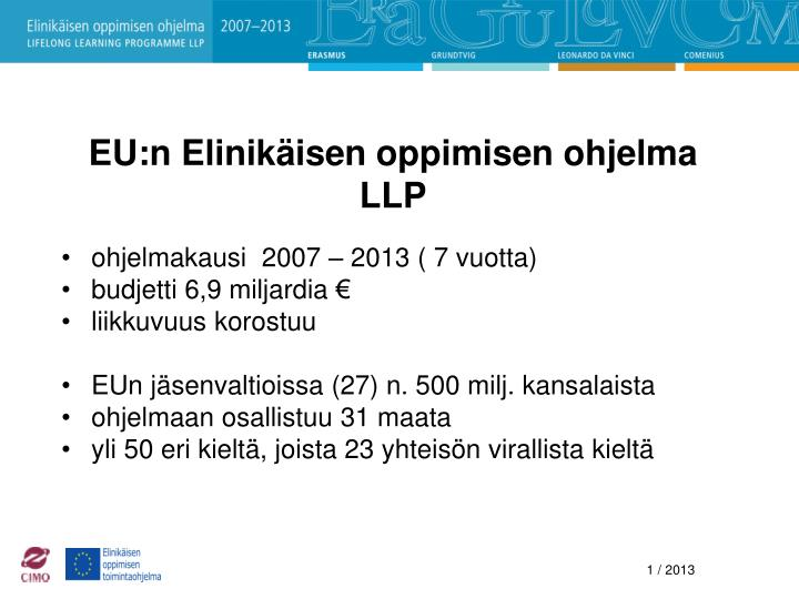 EU:n Elinikäisen oppimisen ohjelma