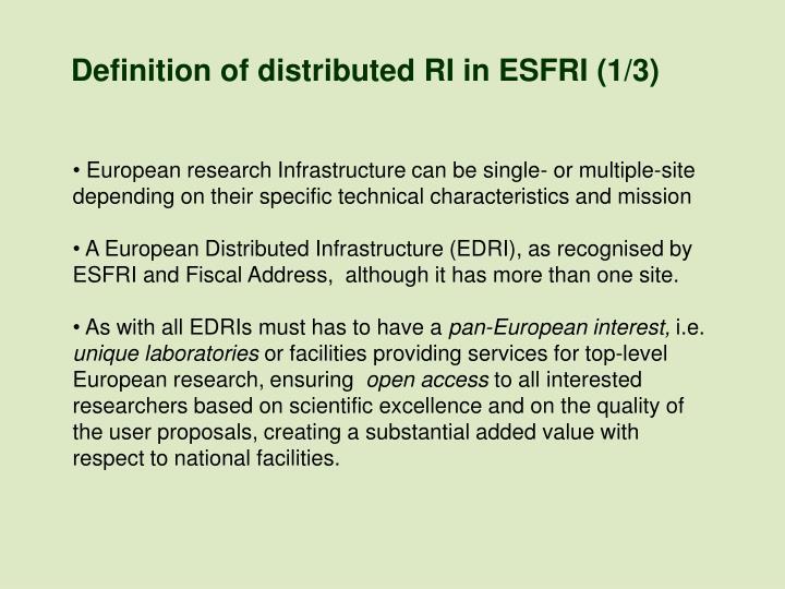 Definition of distributed RI in ESFRI (1/3)