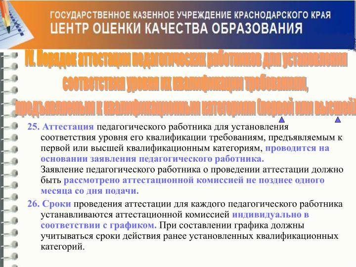 IV. Порядок аттестации педагогических работников для установления