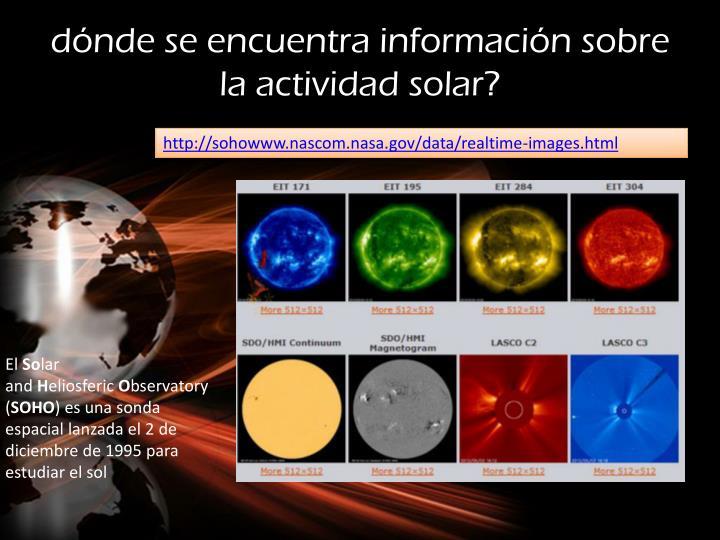 dónde se encuentra información sobre la actividad solar?