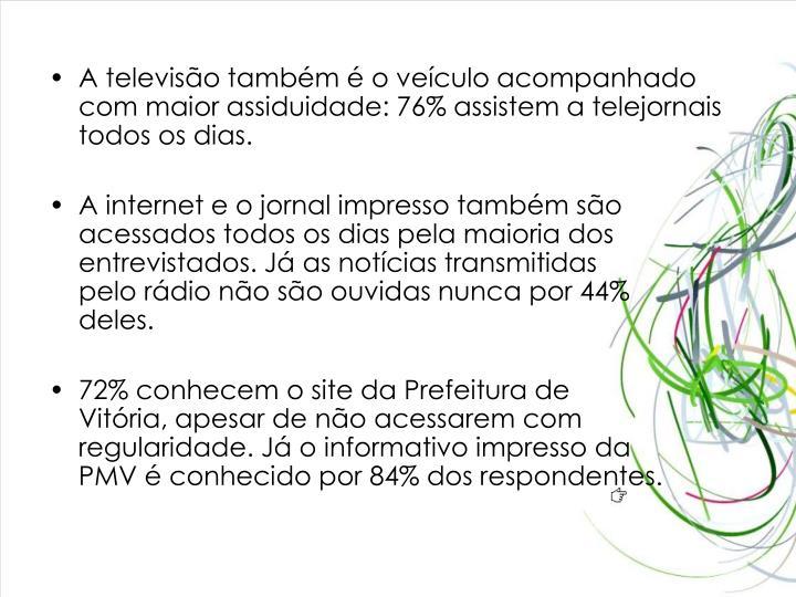 A televiso tambm  o veculo acompanhado com maior assiduidade: 76% assistem a telejornais todos os dias.