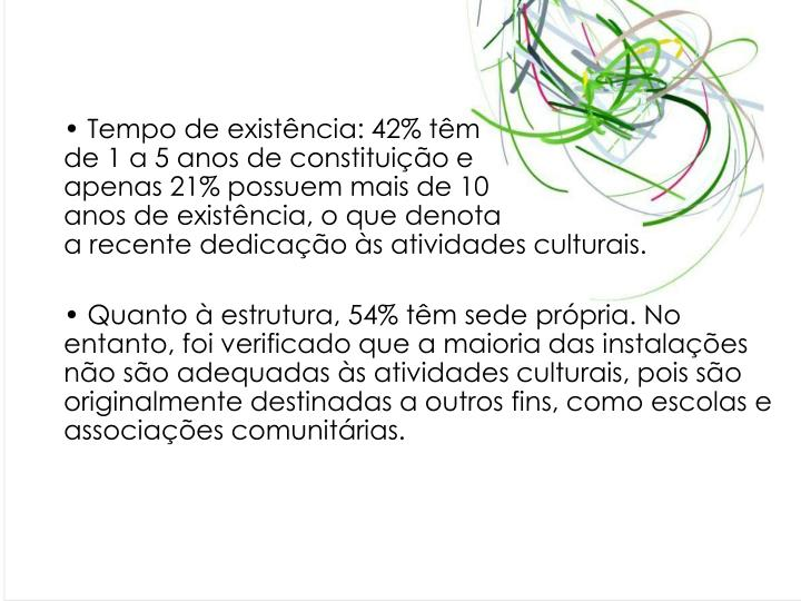 Tempo de existência: 42% têm                                        de 1 a 5 anos de constituição e                                         apenas 21% possuem mais de 10                                        anos de existência, o que denota                                    a recente dedicação às atividades culturais.