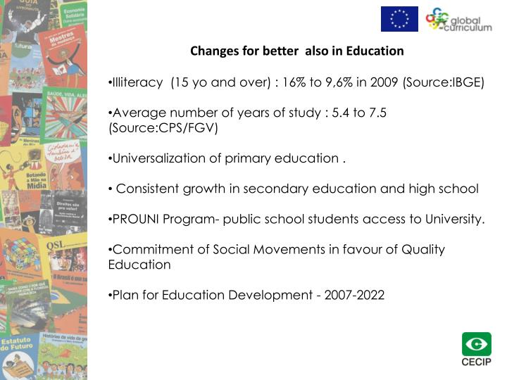 Changes for better  also in Education