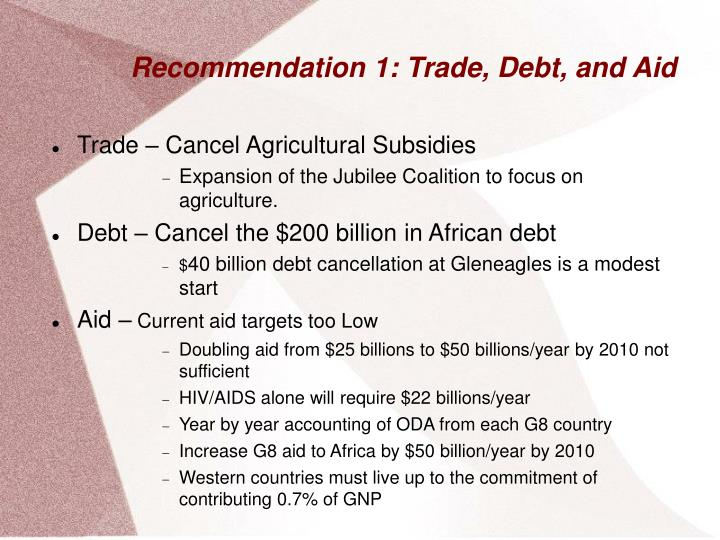Recommendation 1 trade debt and aid