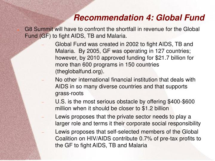 Recommendation 4: Global Fund