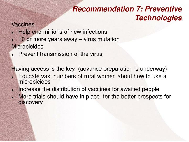 Recommendation 7: Preventive Technologies
