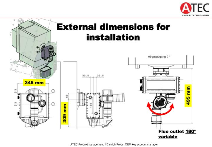 External dimensions for installation