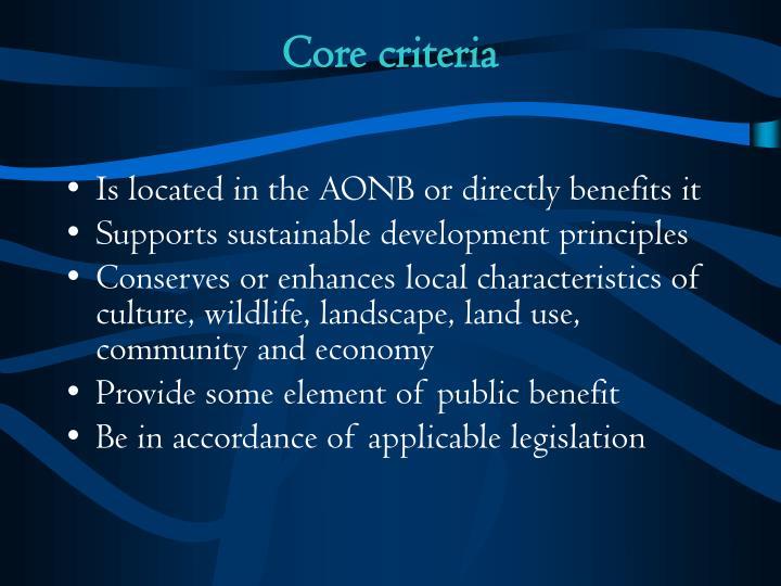 Core criteria