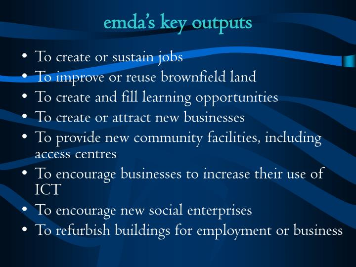 emda's key outputs