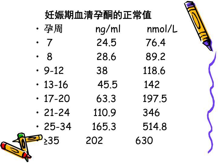 妊娠期血清孕酮的正常值