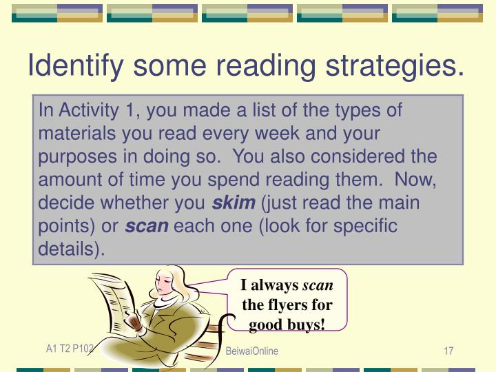 Identify some reading strategies.