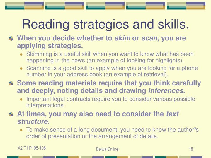 Reading strategies and skills.